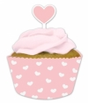 Rosa Cupcake Banderole mit Herz-Topper