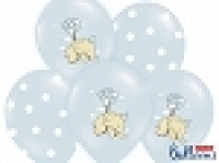 Balloons 30cm, Elephant and white Dots, Pastel Baby Blue Mix (10pc.)