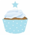 Blaue Cupcake Banderole mit Stern-Topper